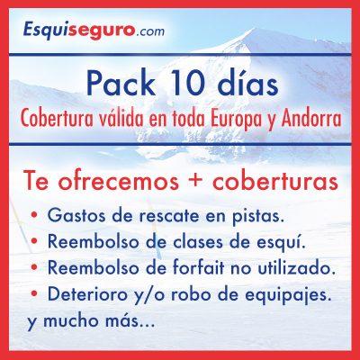 Esquiseguro.com, seguro de esquí online Pack 10 días