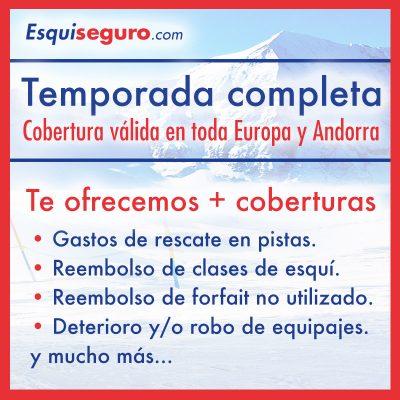 Esquiseguro.com, seguro de esquí online Pack temporada