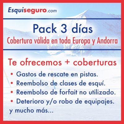 Esquiseguro.com, seguro de esquí online Pack 3 días