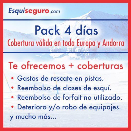 Esquiseguro.com, seguro de esquí online Pack 4 días